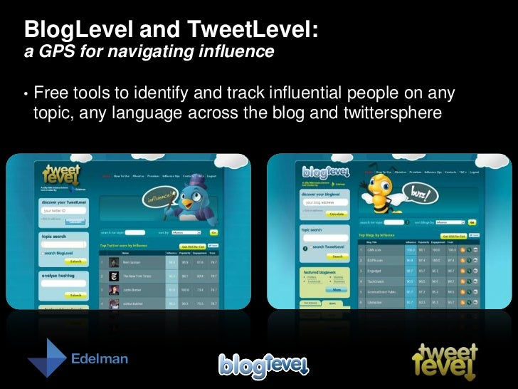 BlogLevel and TweetLevel: a GPS for navigating influence<br /><ul><li>Free tools to identify and track influential people ...