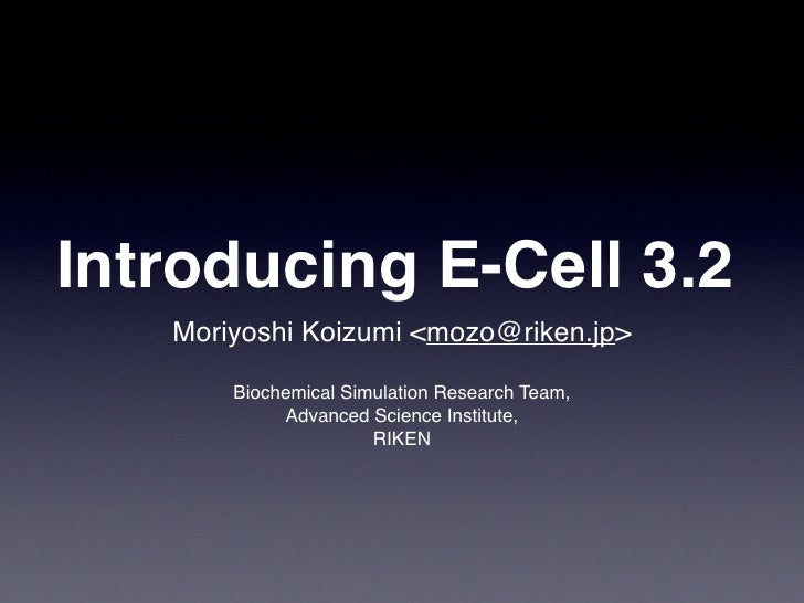 Introducing E-Cell 3.2