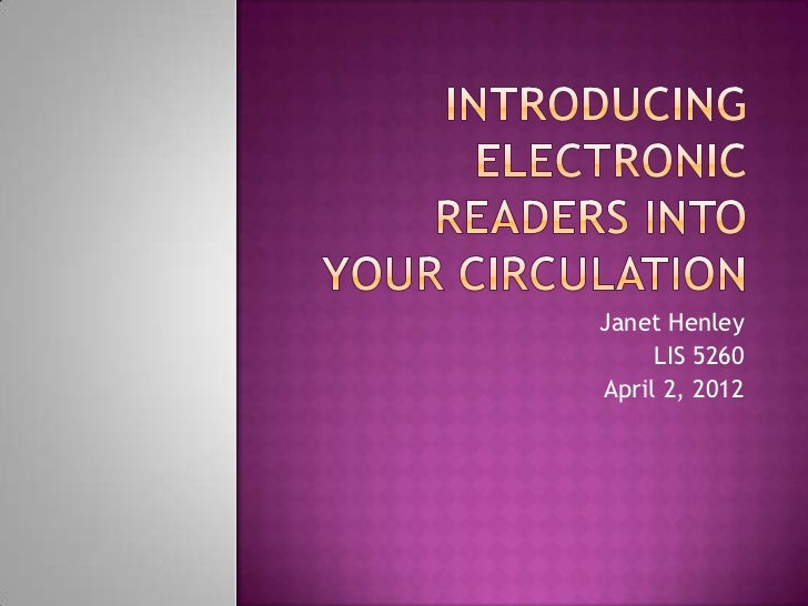 Introducing electronic readers final
