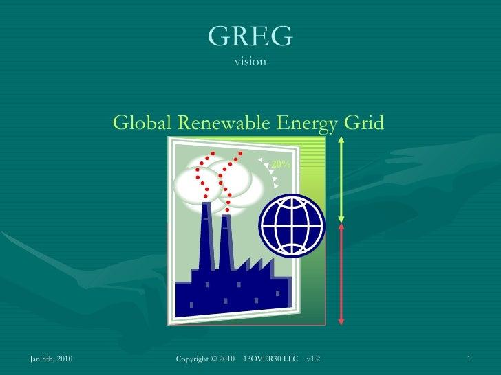Global Renewable Energy Grid GREG vision 20%