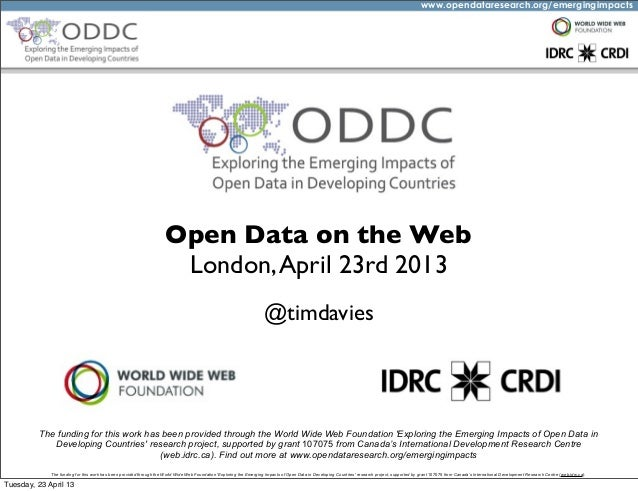 #odw13 - Open Data on the Web - An introduction to the Open Data in Developing Countries project
