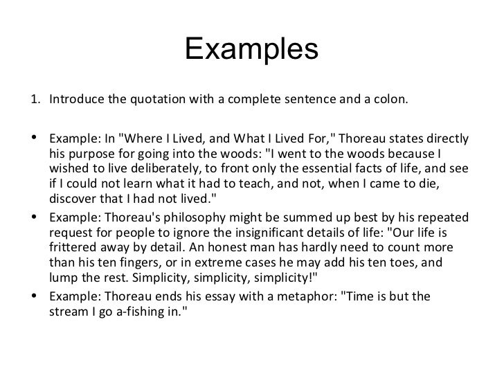 Examples of introducing quotes
