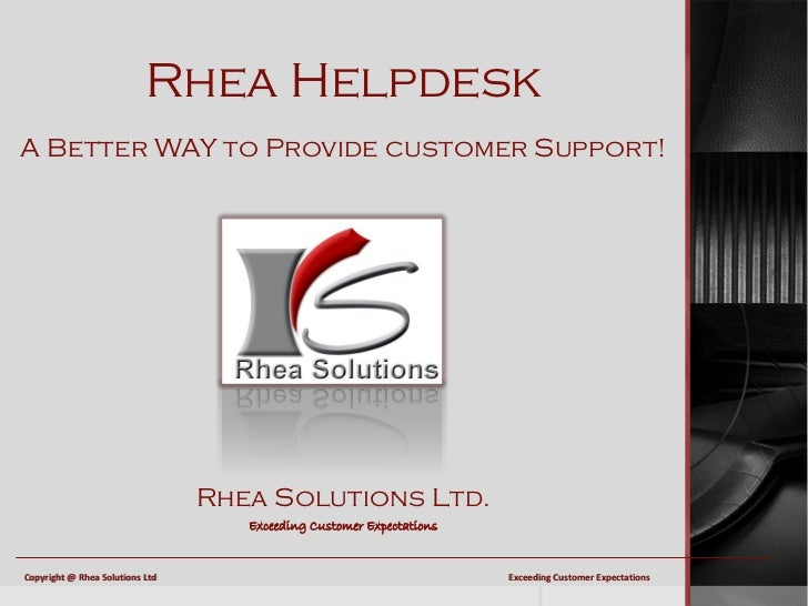 Introducing the Rhea Helpdesk from Rhea Solutions