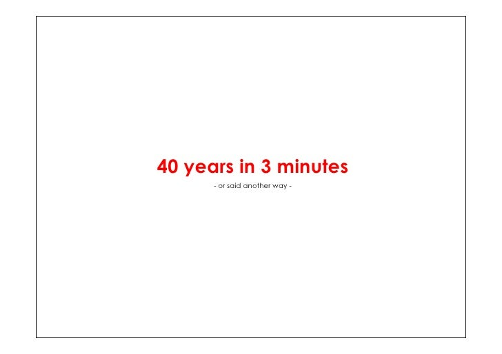 40 years in 3 minutes       - or said another way -
