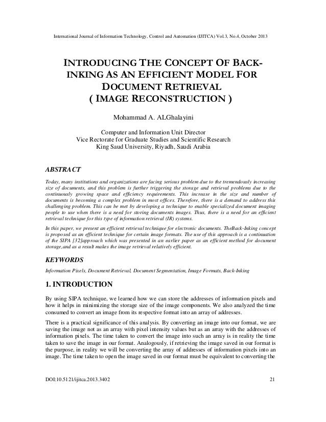 Introducing the Concept of Back-Inking as an Efficient Model for Document Retrieval (Image Reconstruction)