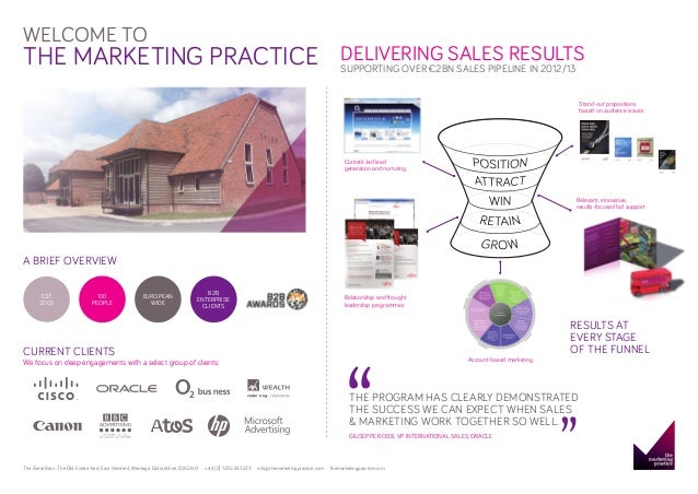 WELCOME TO  THE MARKETING PRACTICE  DELIVERING SALES RESULTS SUPPORTING OVER €2BN SALES PIPELINE IN 2012/13  Stand-out pro...