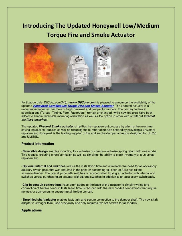 Introducing The Updated Honeywell Low/Medium Torque Fire and Smoke Actuator  Fort Lauderdale: DtiCorp.com(http://www.DtiCo...