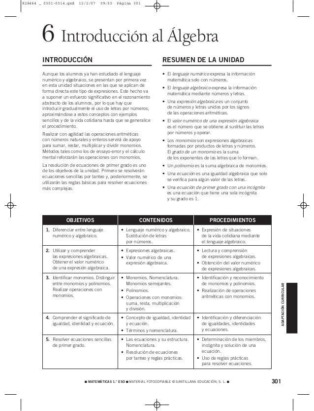 301 MATEMÁTICAS 1.° ESO  MATERIAL FOTOCOPIABLE © SANTILLANA EDUCACIÓN, S. L.  Introducción al Álgebra6 INTRODUCCIÓN Aun...