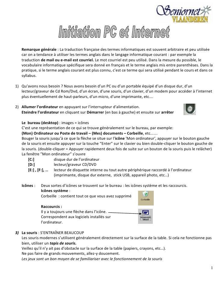 Introductiecursus pc+internet (fr)   seniornet vlaanderen