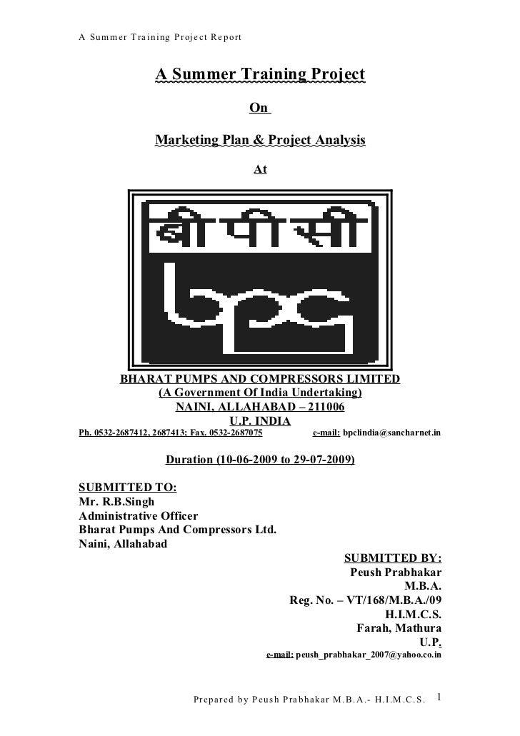 Summer Training Project Report On BPC Ltd.