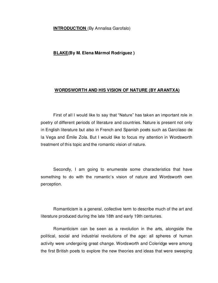 INTRODUCTION (By Annalisa Garofalo)      BLAKE(By M. Elena Mármol Rodríguez )       WORDSWORTH AND HIS VISION OF NATURE (B...