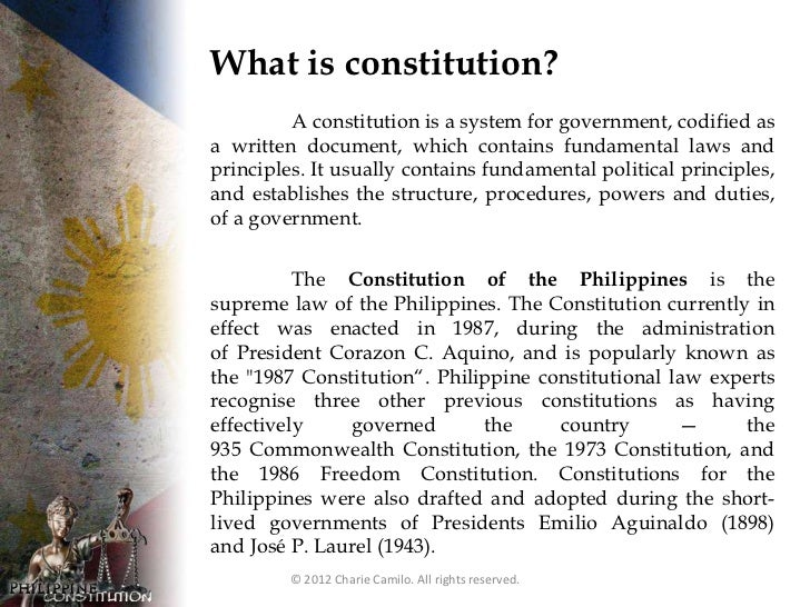 philippine constitution Under philippine law, amending the 1987 constitution would require the support of both houses of congress and the approval of the people through a national plebiscite.