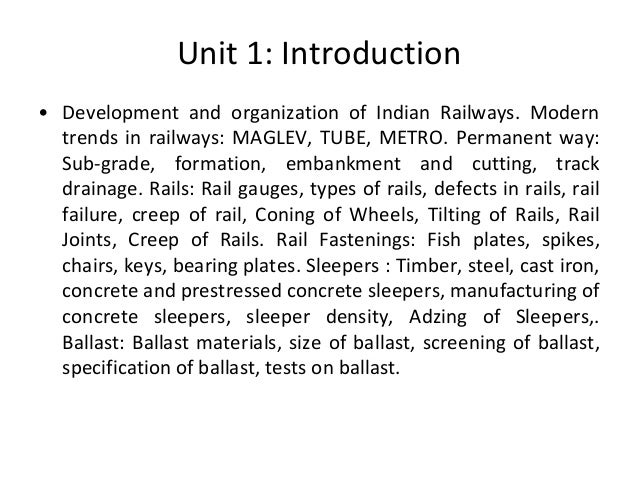 Introduction To Railway Engineering T E 2