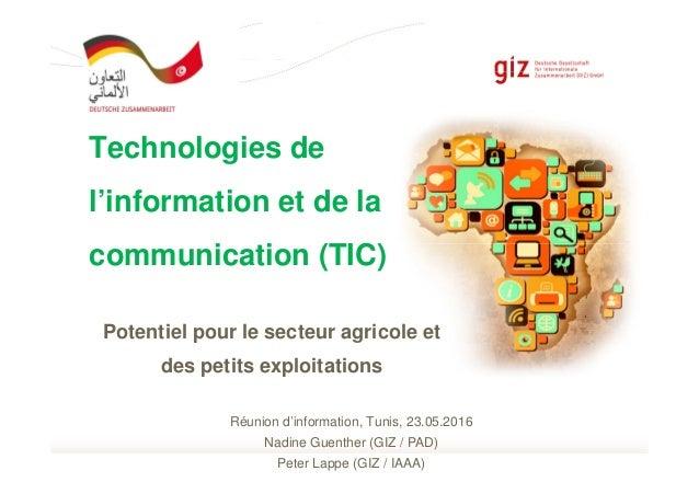 Page 1page 1 of 28 Potentiel pour le secteur agricole et des petits exploitations Technologies de l'information et de la c...