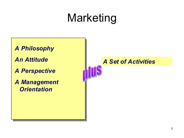 Marketing A Philosophy An Attitude A Perspective A Management Orientation A Set of Activities 1