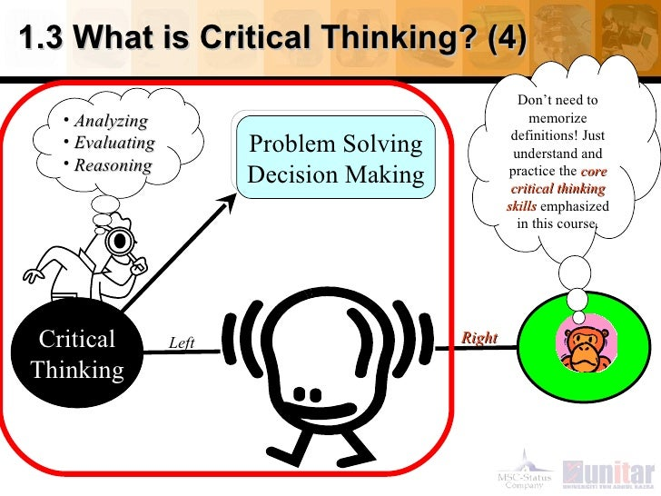 creative thinking and critical thinking ppt Creative thinking should not be seen as an alternative to critical thinking when  you have recognised a problem, then you should employ creative thinking to.