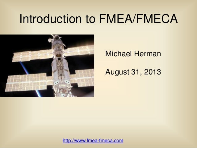 Introduction to FMEA/FMECA
