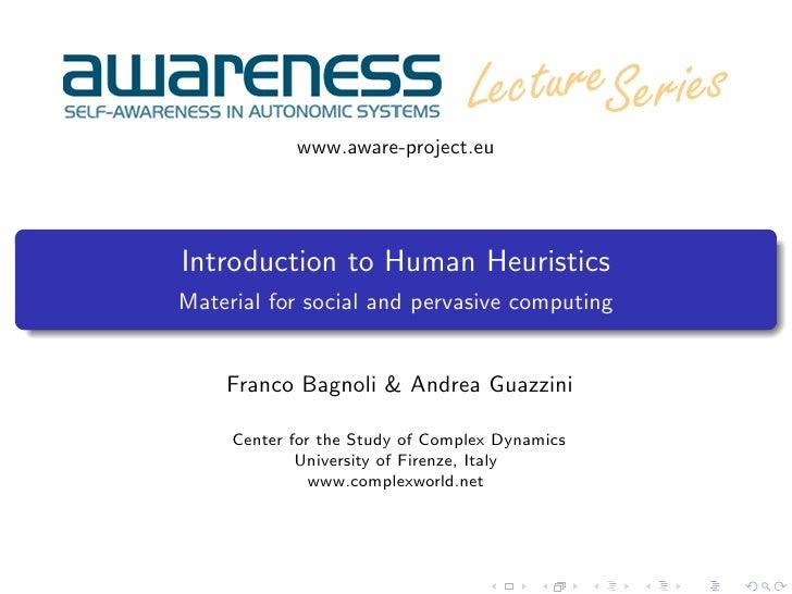 Introduction to human heuristics by Franco Bagnoli