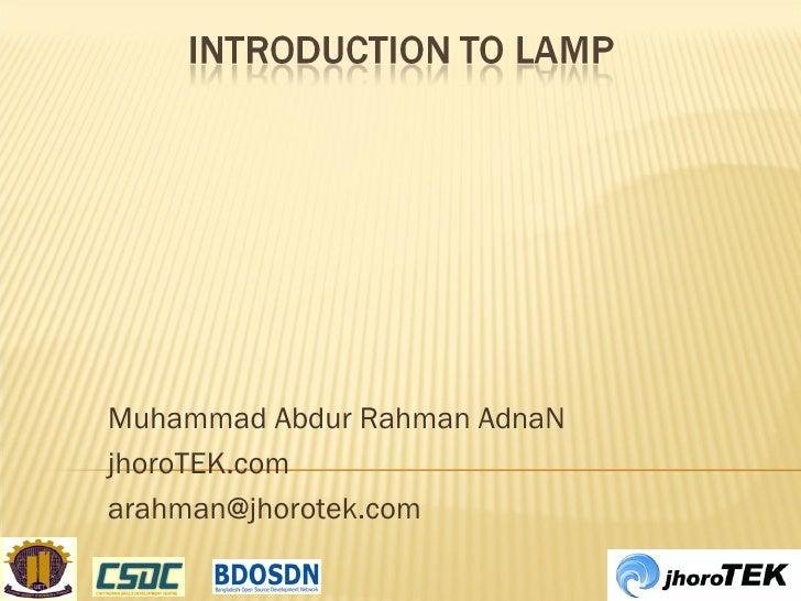 Muhammad Abdur Rahman AdnaN jhoroTEK.com [email_address]