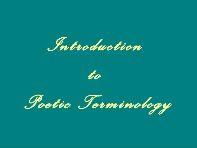 Introduction to Poetic Terminology