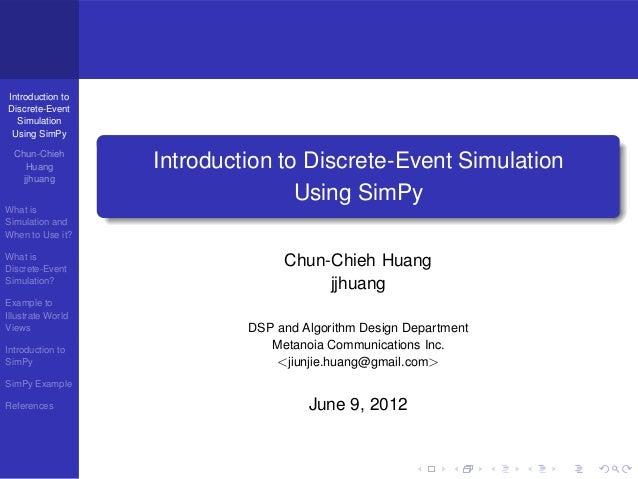 Introduction Discrete-Event Simulation Using SimPy