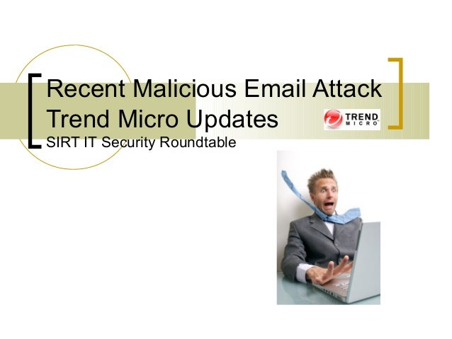 Recent Malicious Email AttackTrend Micro UpdatesSIRT IT Security Roundtable