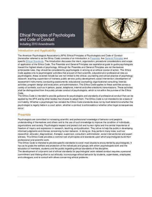 Introduction and ApplicabilityThe American Psychological Associations (APA) Ethical Principles of Psychologists and Code o...