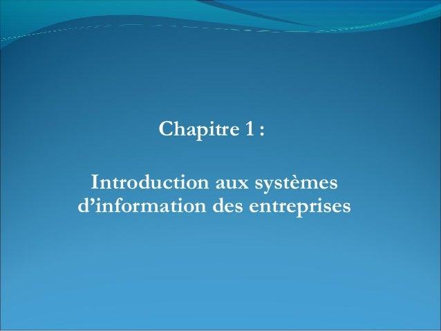 Chapitre 1 : Introduction aux systèmes d'information des entreprises
