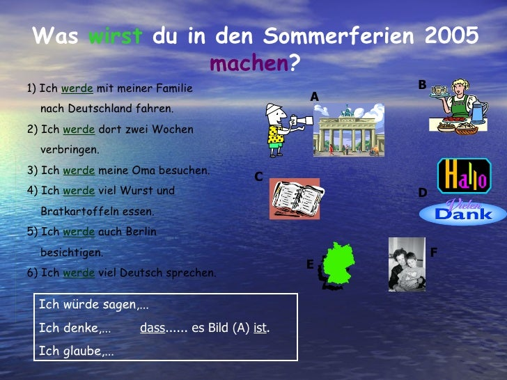 Was  wirst  du in den Sommerferien 2005  machen ? 1) Ich  werde  mit meiner Familie  nach Deutschland fahren. 2) Ich  werd...