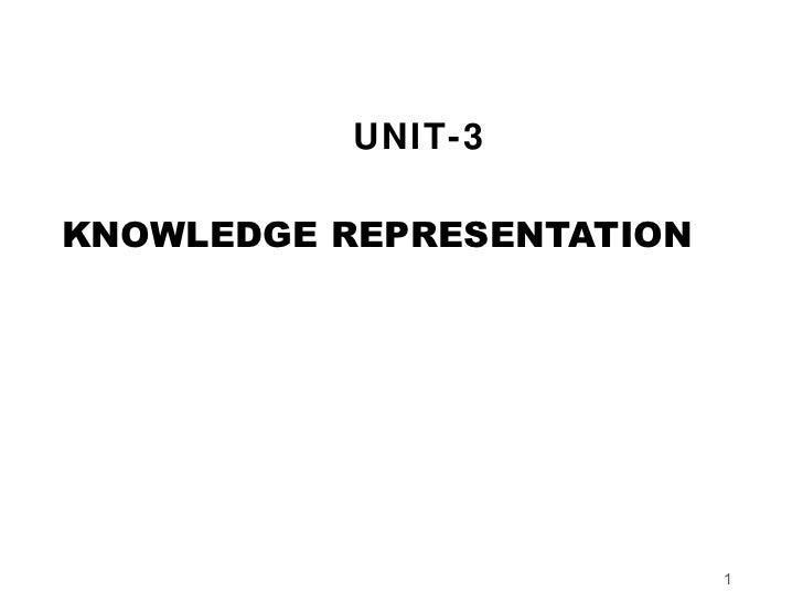 UNIT-3KNOWLEDGE REPRESENTATION                           1