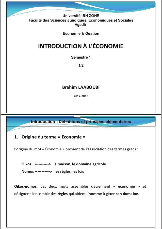 Université IBN ZOHR Faculté des Sciences Juridiques, Economiques et Sociales Agadir Economie & Gestion /EdZKhd/KE ͛KEKD/ S...