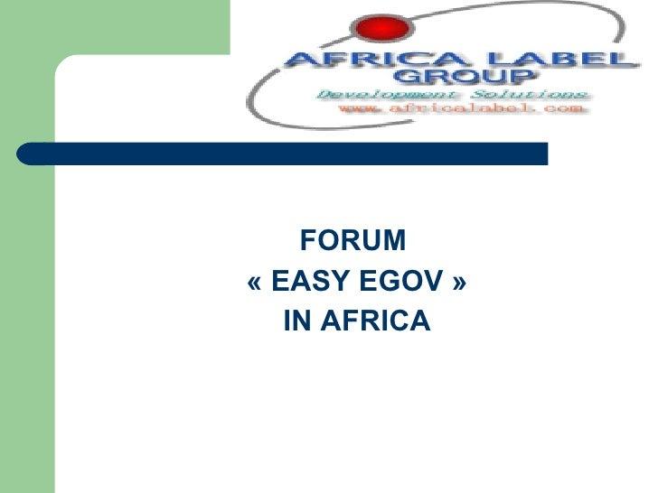 FORUM  «EASY EGOV» IN AFRICA