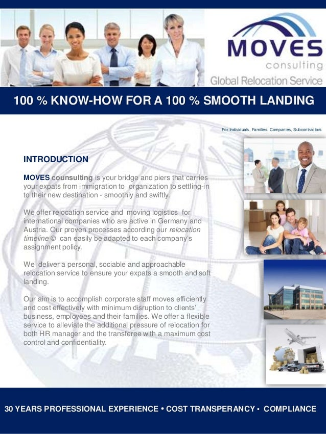 100 % KNOW-HOW FOR A 100 % SMOOTH LANDING For Individuals, Families, Companies, Subcontractors  INTRODUCTION MOVES counsul...