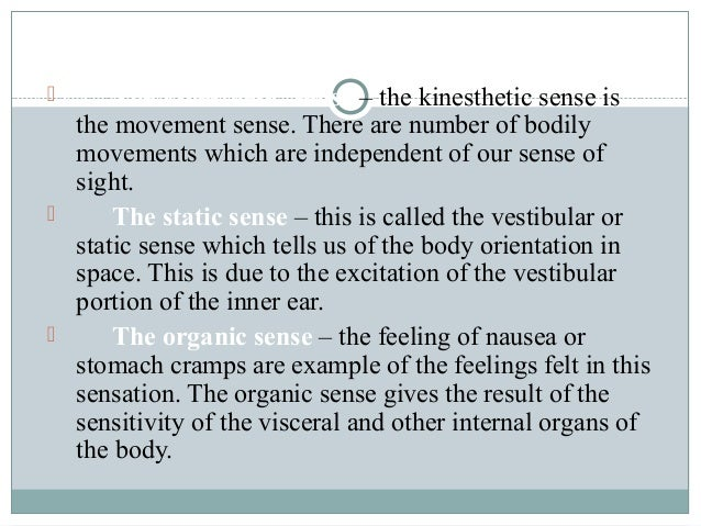kinesthetic equilibrium and organic senses