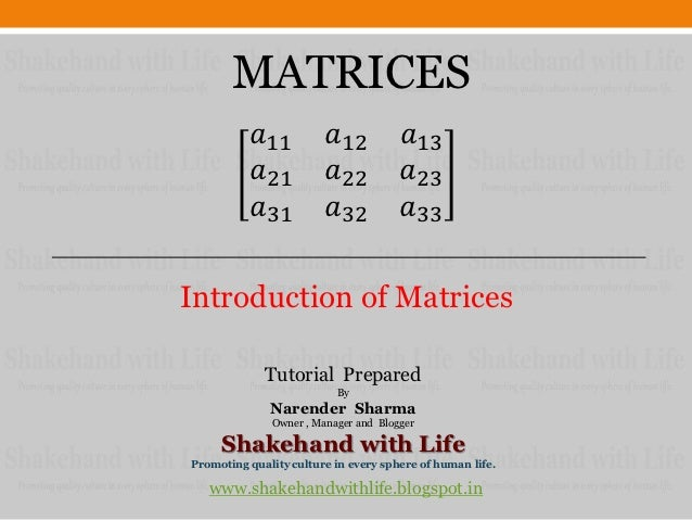 Introduction of matrices