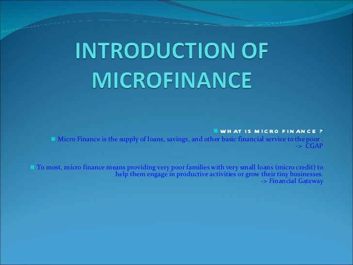 Introduction of microfinance