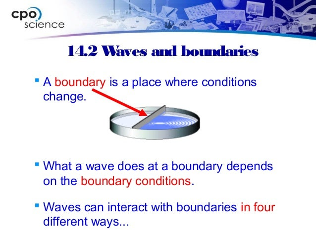 14.2 Waves and boundaries  A boundary is a place where conditions change.  What a wave does at a boundary depends on the...