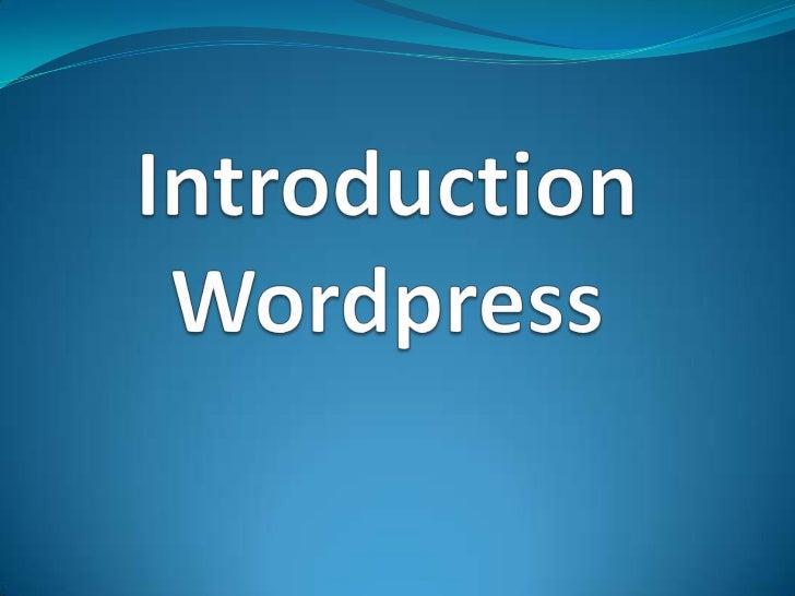 Introduction of wordpress