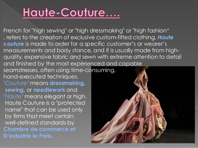 Introduction on fashion designing concepts in fashion for Couture clothing definition