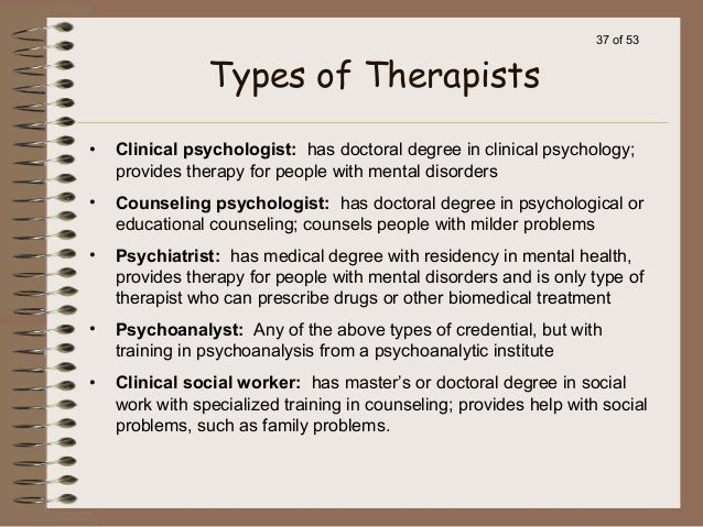 different therapies in psychology Abnormal psychology is a branch within the field of psychology in which unusual patterns of thought, behavior or different types of psychical therapies.