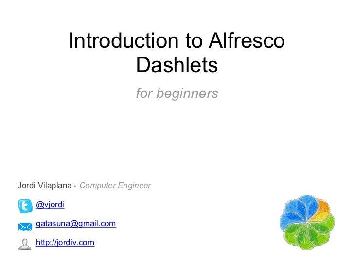 Introductiontoalfrescodashlets 111015062135-phpapp02