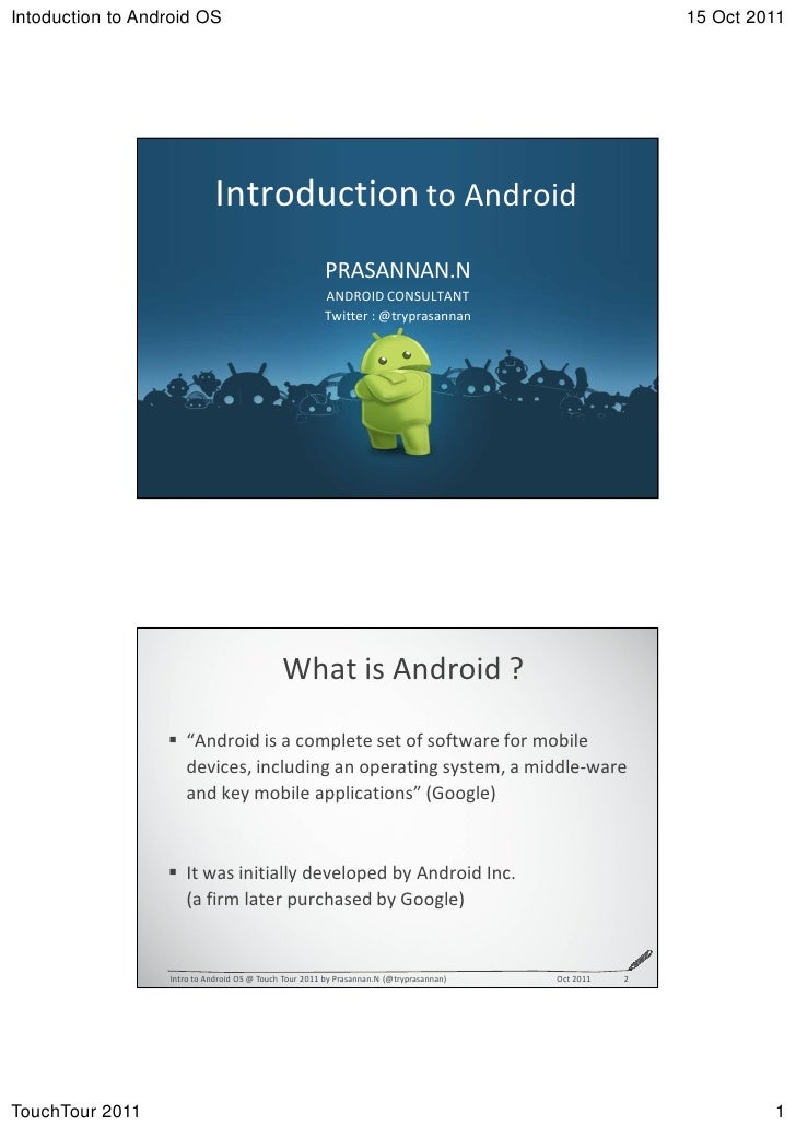 Introduction to Android OS - Touch Tour Chennai