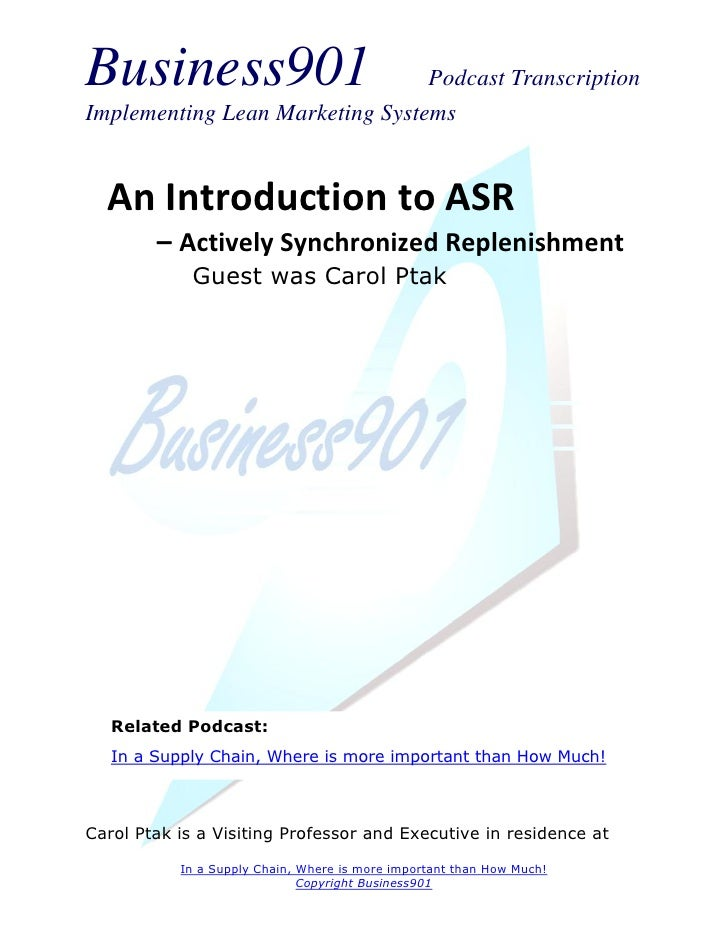 Introduction to ASR in the Supply Chain