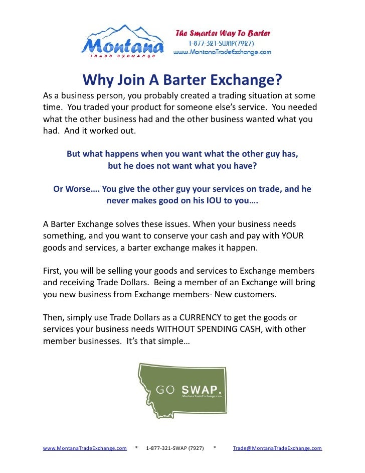 Introduction to  Barter With Montana Trade Exchange