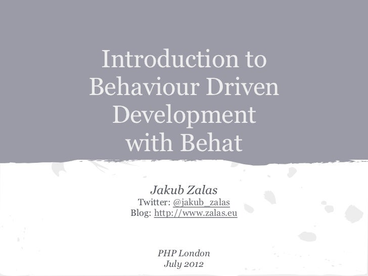 Introduction to behaviour driven development with Behat