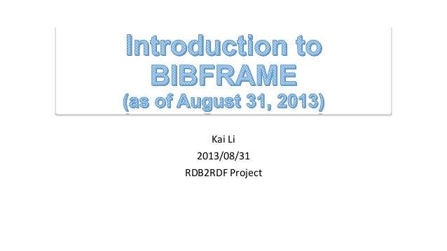 Kai Li 2013/08/31 RDB2RDF Project