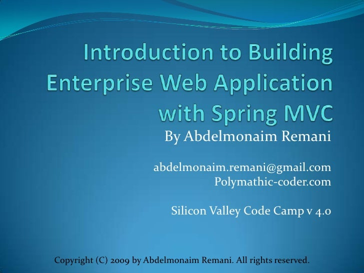 Introduction To Building Enterprise Web Application With Spring Mvc