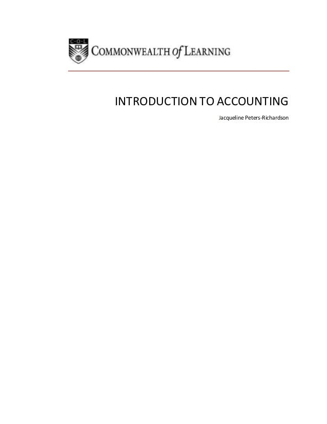 INTRODUCTION TO ACCOUNTING               Jacqueline Peters-Richardson