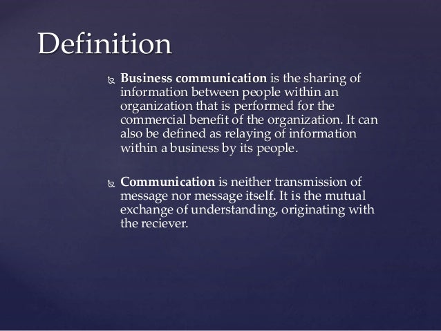 a description of communication as the mutual exchange of understanding originating with the receiver Communication is neither transmission of message nor message itself but it is the mutual exchange of understanding, originating with the receiver.