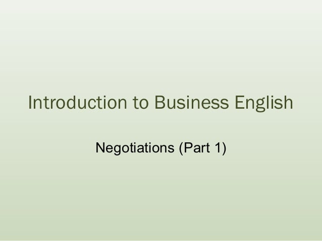 Introduction to Business English Negotiations (Part 1)